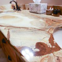 upclose stone bathroom countertops